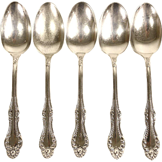 Set of 5 Rogers Signed Antique Silverplate Teaspoons, Pat. 1898