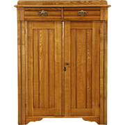 Victorian Eastlake 1890's Antique Oak Pantry Jelly Cupboard