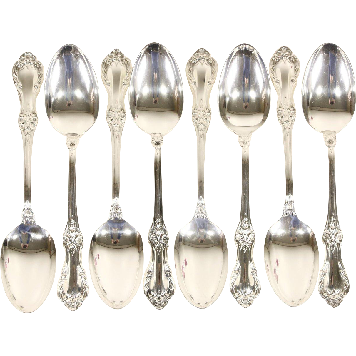Wild Rose Sterling Silver Set of 8 Soup or Serving Spoons, Signed International