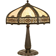 Stained Glass 1915 Antique Table Lamp, 8 Panel