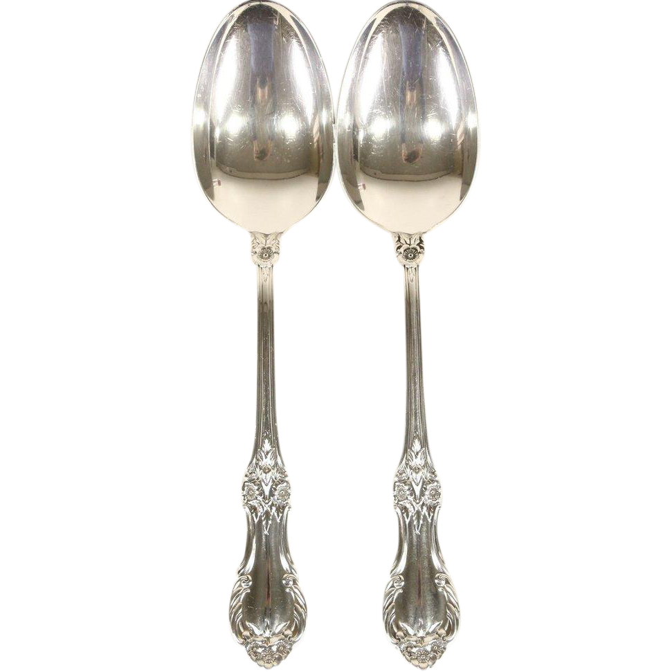 Wild Rose Pair of Sterling Silver Serving Spoons, Signed International #1