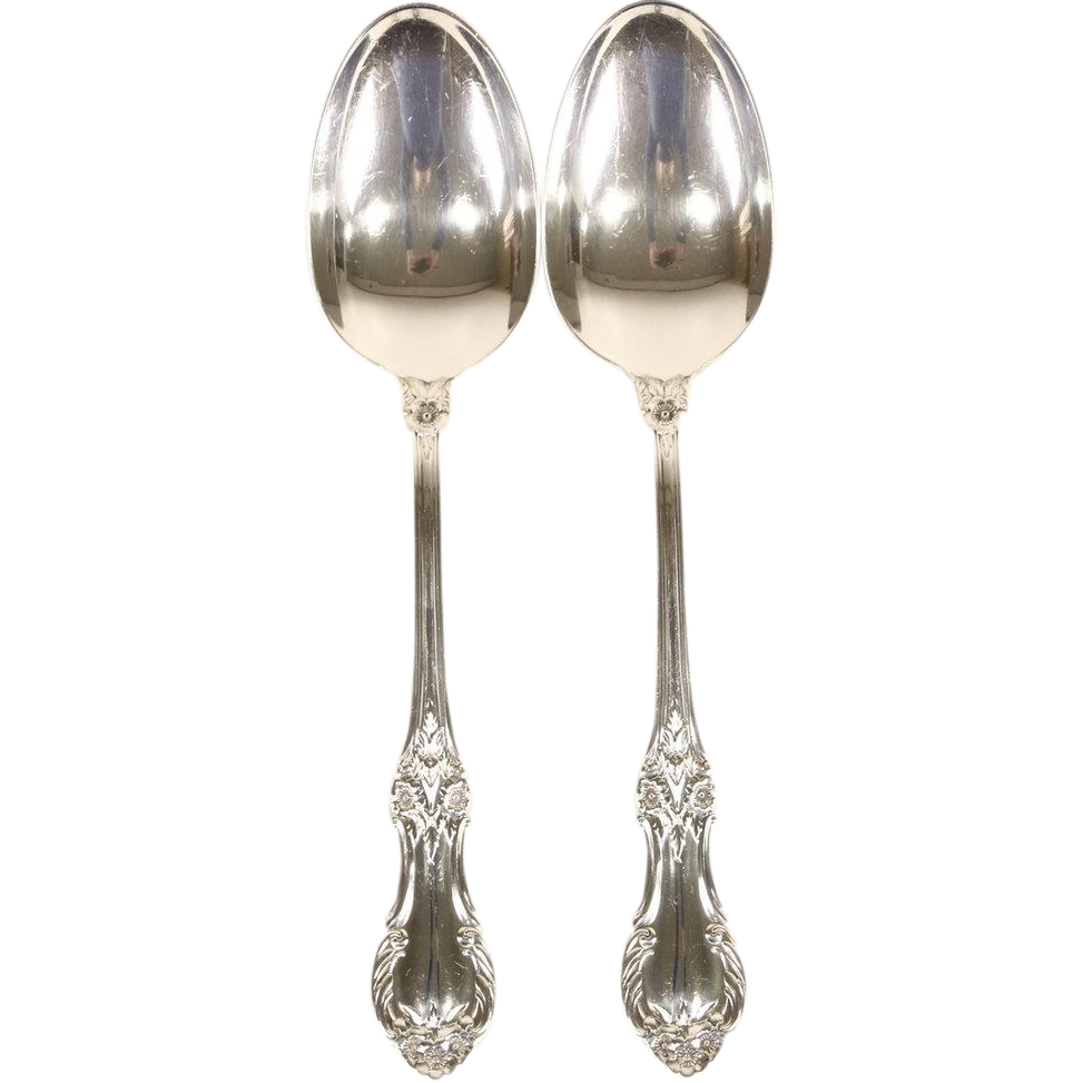 Wild Rose Pair of Sterling Silver Serving Spoons, Signed International #2