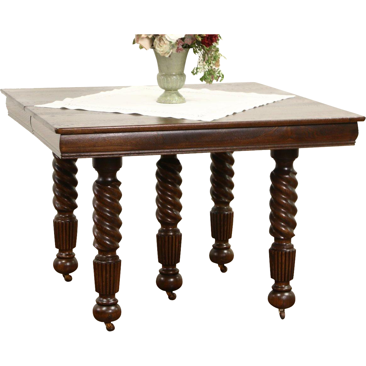 Oak 1900 Antique Square Dining Table, 4 Leaves, 5 Spiral Legs Extends 7'