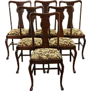 Set of 6 Oak 1900 Antique Carved Paw Foot Dining Chairs, New Upholstery