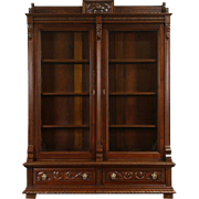 Victorian 1880 Antique Carved Walnut Library Bookcase, Wavy Glass Doors