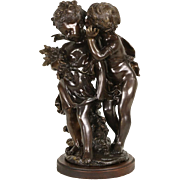 A Confidence Bronze Sculpture, Signed August Moreau Statue