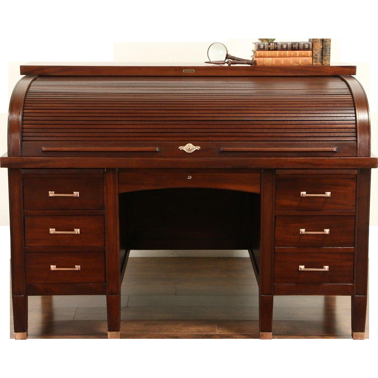 Mahogany C Curve 1910 Antique Roll Top Desk, Bronze Hardware, Signed Sabath