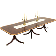 Mahogany Banded Vintage Dining Table, 3 Pedestals, 2 Leaves, Extends 11'