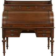 Oak German 1890's Antique Cylinder Roll Top Desk, Pull Out Leather Top
