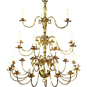 "Georgian Style Chandelier, Vintage 3 Tier Patinated Brass, 28 Candles, 47"" Tall"