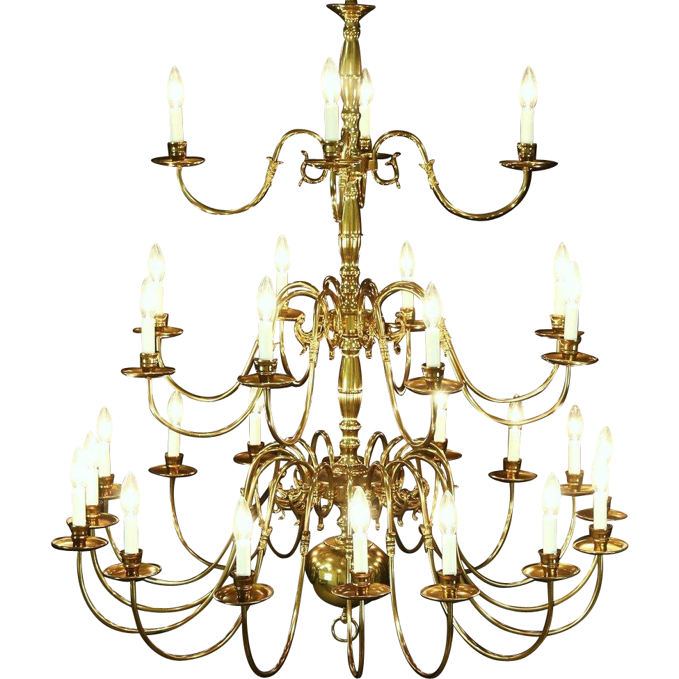 """Georgian Style Chandelier, Vintage 3 Tier Patinated Brass, 28 Candles, 47"""" Tall"""
