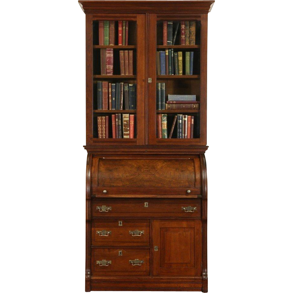 Victorian Eastlake 1880's Walnut Cylinder Roll Top Secretary Desk & Bookcase
