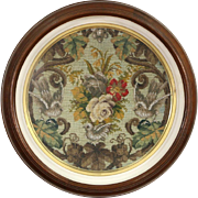 Victorian 1850's Round Walnut Shadow Box Picture Frame, Needlepoint Glass Beads