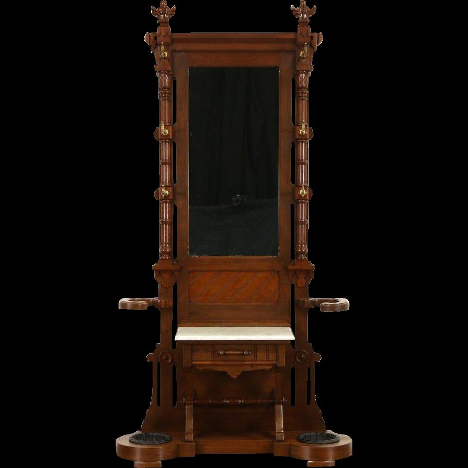 Victorian Walnut 1875 Antique Hall Stand, Mirror, Marble Shelf & Umbrella Holder