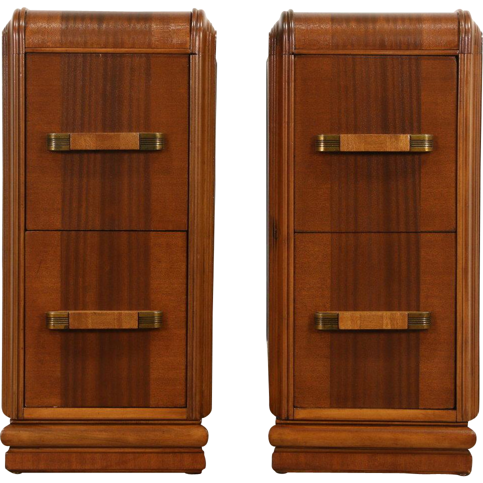 Waterfall pair of art deco late 1930 39 s vintage nightstands for Waterfall design nightstand