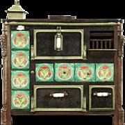 Cast Iron & Tile Antique 1890's Kitchen Stove or Kitchen Island, Signed France