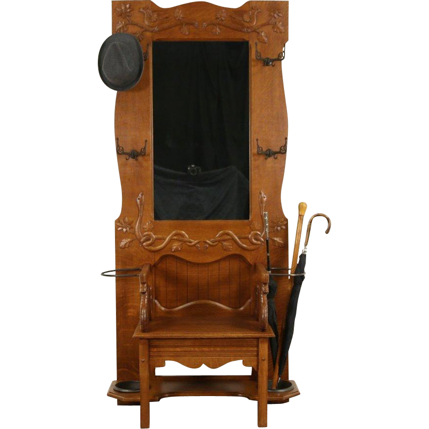 Oak 1900 Hall Bench, Mirror, Hooks, Carved Birds & Snakes