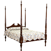 Poster Full or Double Size Mahogany Bed, Carved Rice Plantation Motif