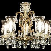 Crystal & Brass 1950's Vintage 5 Light Chandelier