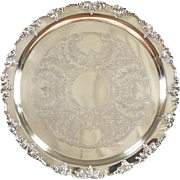 "Wallace Vintage Silverplate Round 19 1/2"" Serving Tray, Grapevine Motif"