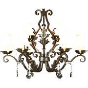"Wrought Iron Statuary Bronze 9 Candle 36"" Wide Chandelier, Crystal Prisms"