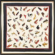 Salvatore Ferragamo Signed Shoe Motif Silk Scarf, Custom Framed