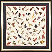 Salvatore Ferragamo Signed Shoe Motif Silk Scarf, Custom Framed