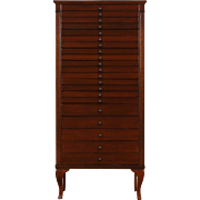 Music, Drawing or Collector 1920's Antique Mahogany File Cabinet, 21 Drawers