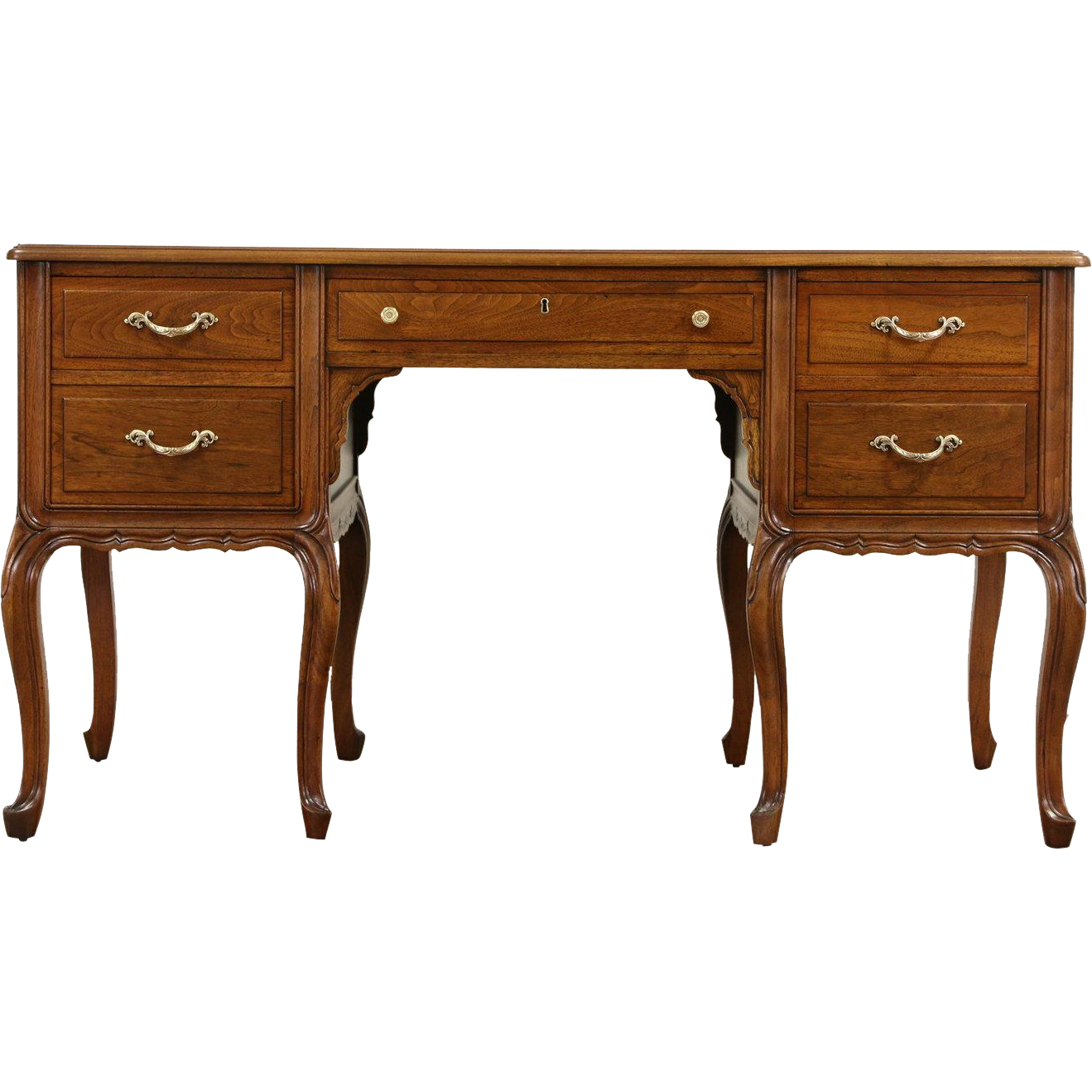 French 1940's Carved Walnut Vintage Library Writing Desk