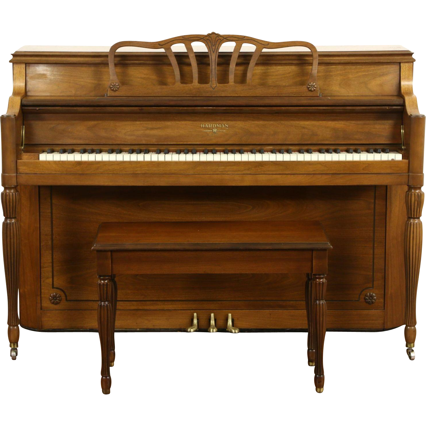 Hardman Signed 1960 Vintage Traditional Walnut Console Piano & Bench, Tuned