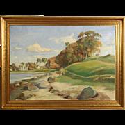 Beach Scene, Original Scandinavian 1920's Antique Oil Painting, Signed Dahl