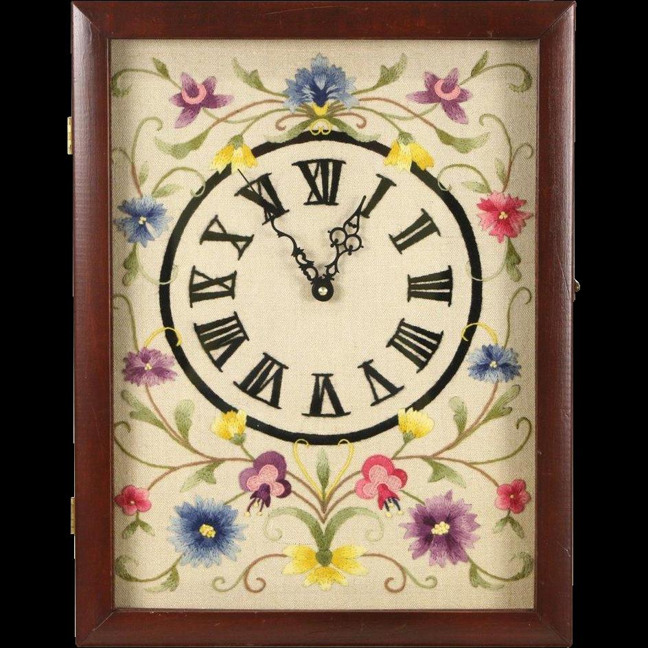 Vintage Wall Clock, Hand Stitched Dial, Quartz Battery Movement