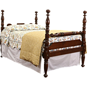 Empire Full or Double Size 1830's Antique Walnut 4 Poster Rope Bed