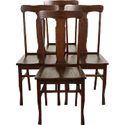 Set of 4 Oak 1910 Antique Dining or Game Chairs
