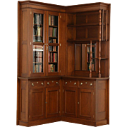 Victorian Eastlake Corner 1885 Antique Walnut Library Bookcase or China Cabinet