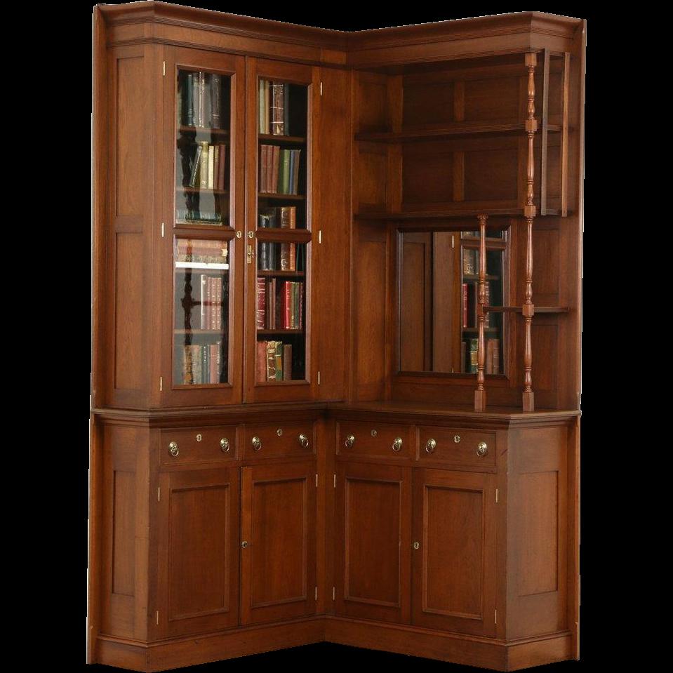 Dutch Hand Carved Oak 1910 Antique Bookcase, Wavy Glass Doors