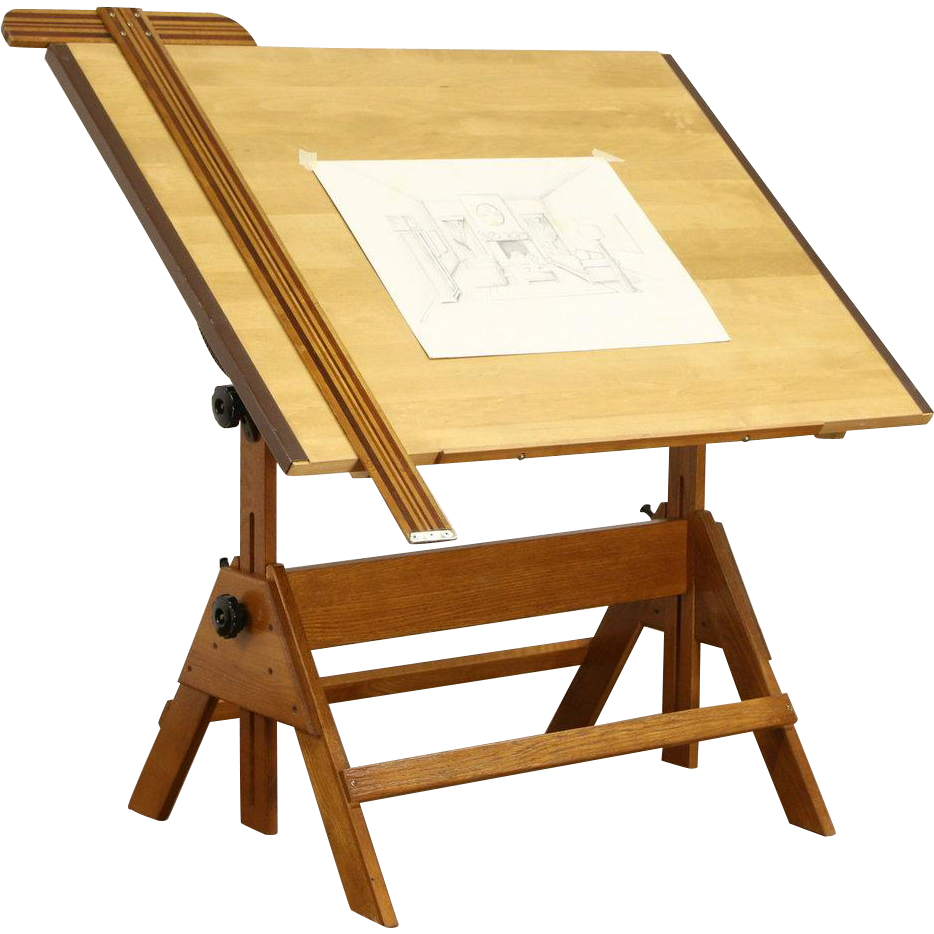 Drafting Table, 1992 Vintage Adjustable Drawing or Artist Desk, Wine Table
