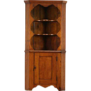 Country Pine Primitive 1900 Antique Corner Cabinet or Cupboard