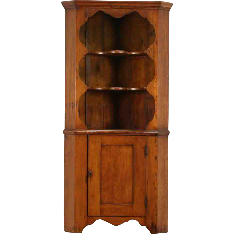 Country Pine Primitive 1900 Antique Corner Cabinet or Cupboard