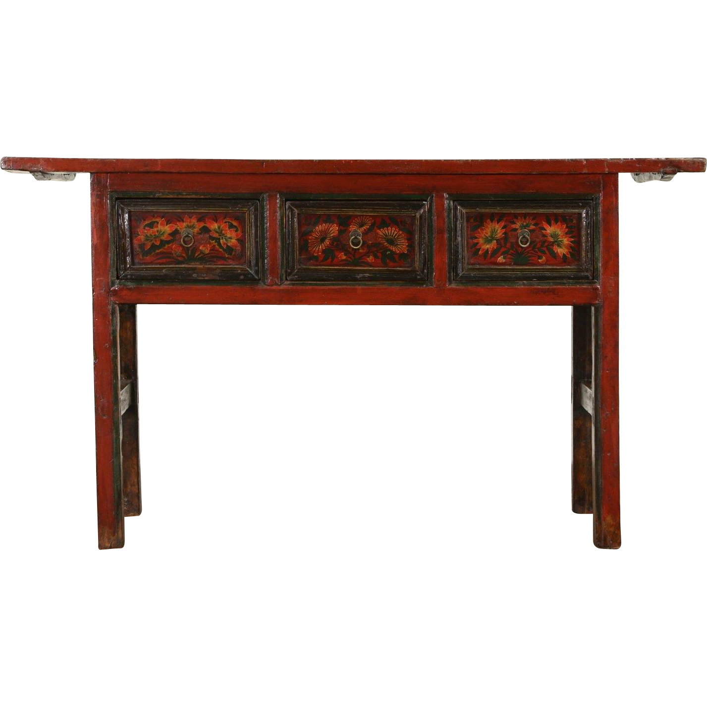 Chinese Antique 1900's Console or Sofa Table, Hand Painted Lacquer
