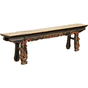 Chinese Antique 1900 Hewn Elm 6 1/2'  Bench, Old Paint