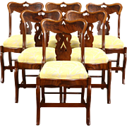 Set of 6 Empire 1830's Antique Mahogany & Cherry Dining Chairs