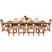 Georgian Design Vintage Dining Set, Banded Yew Table, 3 Leaves, 10 Cherry Chairs