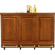 Oak Vintage Folding Portable Party Bar, Brass Rails