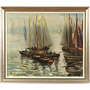 Sailboats and Fishing Boats, Original Oil Painting, Belgium 1950 Vintage, Signed