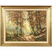 Autumn Forest Path, Original Scandinavian Oil Painting, 1950's Vintage, Signed
