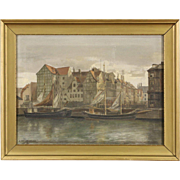 Sailboat in Harbor, Danish Antique Original Oil Painting, Signed Jacobsen 1918