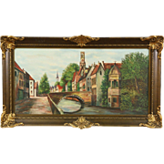 Bruges Belgium Canal Scene, 1920's Original Antique Oil Painting, Signed Gollyn