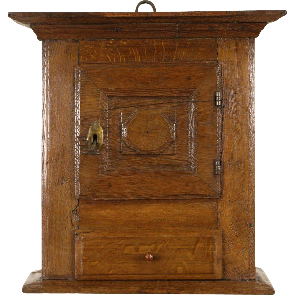 Dutch Oak 18th Century Antique Hanging or Countertop Cupboard, Lock & Key
