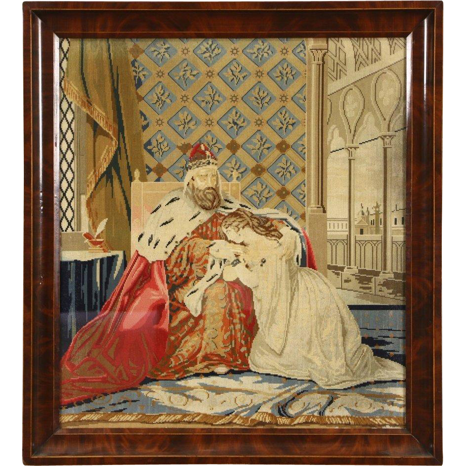 Victorian 1880's Antique Needlepoint & Petit Point Tapestry of King & Daughter